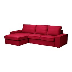 "KIVIK loveseat and chaise lounge, Dansbo medium red Width: 110 1/4 "" Depth: 64 1/8 "" Height: 32 5/8 "" Width: 280 cm Depth: 163 cm Height: 83 cm"