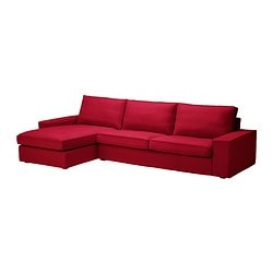 KIVIK three-seat sofa and chaise longue, Dansbo medium red Width: 318 cm Depth: 163 cm Height: 83 cm