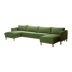 KARLSTAD 2 chaise longues + three-seat sofa, Sivik green Width: 362 cm Min. depth: 93 cm Max. depth: 158 cm