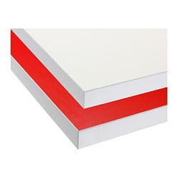 "NUMERÄR countertop, double-sided, white with white edge, red Length: 73 1/4 "" Depth: 25 5/8 "" Thickness: 1 1/2 "" Length: 186 cm Depth: 65 cm Thickness: 3.8 cm"