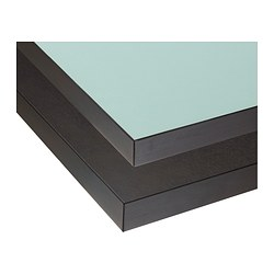 "NUMERÄR countertop, double-sided, light turquoise with brown-black edge, brown-black Length: 96 7/8 "" Depth: 25 5/8 "" Thickness: 1 1/2 "" Length: 246 cm Depth: 65 cm Thickness: 3.8 cm"