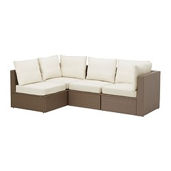 "ARHOLMA 4-seat sectional, outdoor, beige, brown Depth: 29 7/8 "" Width right: 85 3/8 "" Width left: 55 1/2 "" Depth: 76 cm Width right: 217 cm Width left: 141 cm"
