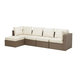 "ARHOLMA 4-seat sofa with footstool, outdoor, beige, brown Depth: 29 7/8 "" Width right: 111 "" Width left: 55 1/2 "" Depth: 76 cm Width right: 282 cm Width left: 141 cm"