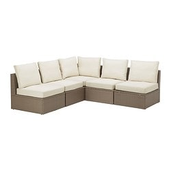 "ARHOLMA 5-seat sectional, outdoor, beige, brown Depth: 29 7/8 "" Width right: 81 1/8 "" Width left: 81 1/8 "" Depth: 76 cm Width right: 206 cm Width left: 206 cm"