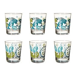 "GODIS MIX glass, patterned Height: 4 "" Volume: 8 oz Package quantity: 6 pack Height: 10 cm Volume: 23 cl Package quantity: 6 pack"