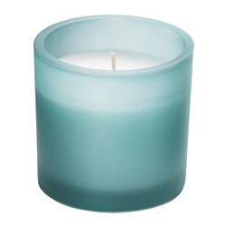 "GLITTRAR scented candle in glass, blue-gray Diameter: 3 ¼ "" Height: 3 ¼ "" Burning time: 25 hr Diameter: 8.5 cm Height: 8 cm Burning time: 25 hr"