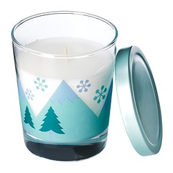 "TIMGLAS scented candle in glass, blue Height: 3 ¾ "" Burning time: 30 hr Height: 9.5 cm Burning time: 30 hr"
