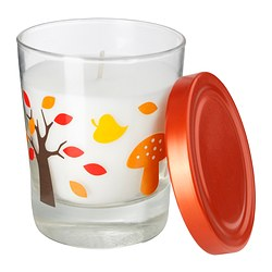 "TIMGLAS scented candle in glass, orange Height: 3 ¾ "" Burning time: 30 hr Height: 9.5 cm Burning time: 30 hr"