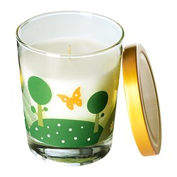 "TIMGLAS scented candle in glass, yellow Height: 3 ¾ "" Burning time: 30 hr Height: 9.5 cm Burning time: 30 hr"
