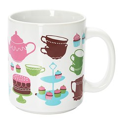 OMBYTLIG mug, patterned Height: 10 cm Volume: 37 cl