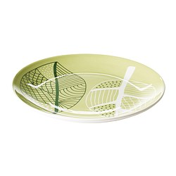 "ÖVERENS side plate, white, green Diameter: 8 "" Diameter: 21 cm"