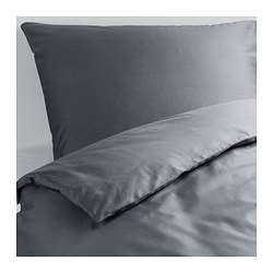 GÄSPA quilt cover and 2 pillowcases, dark grey Pillowcase quantity: 2 pack Quilt cover length: 200 cm Quilt cover width: 150 cm