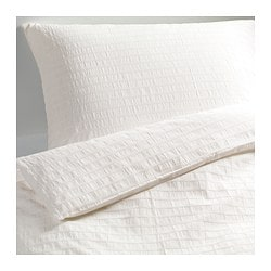 "OFELIA VASS duvet cover and pillowcase(s), white Duvet cover length: 86 "" Duvet cover width: 86 "" Pillowcase length: 20 "" Duvet cover length: 218 cm Duvet cover width: 218 cm Pillowcase length: 51 cm"
