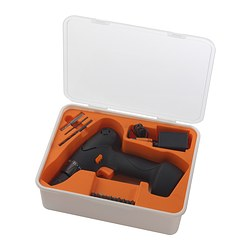 FIXA screwdriver/drill, lithium-ion Weight, screwdriver/drill: 2 lb 5 oz Voltage: 14.4 V Weight, screwdriver/drill: 1040 g Voltage: 14.4 V