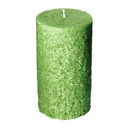 ÅSIKT scented block candle, green Diameter: 8 cm Height: 14 cm Burning time: 50 hr