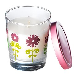 "TIMGLAS scented candle in glass, pink Height: 3 ¾ "" Burning time: 30 hr Height: 9.5 cm Burning time: 30 hr"