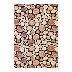 MARGARETA fabric, white/brown, wood log Width: 150 cm Pattern repeat: 64 cm