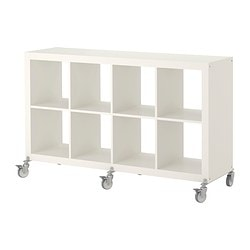 EXPEDIT shelving unit on castors, white Width: 149 cm Depth: 39 cm Height: 83 cm