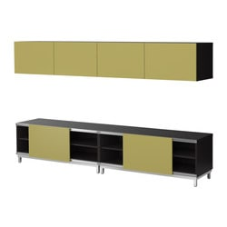 BESTÅ storage combination w sliding doors, light green, black-brown Width: 240 cm Depth: 40 cm Height: 48 cm
