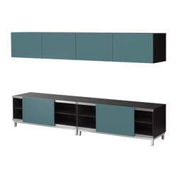 BESTÅ storage combination w sliding doors, grey-turquoise, black-brown Width: 240 cm Depth: 40 cm Height: 48 cm