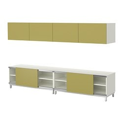 BESTÅ storage combination w sliding doors, light green, white Width: 240 cm Depth: 40 cm Height: 48 cm