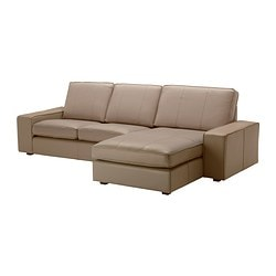 KIVIK two-seat sofa and chaise longue, Bomstad beige, Grann Depth: 163 cm Seat width: 230 cm Min. seat depth: 60 cm