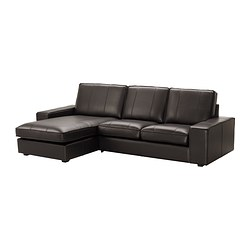 KIVIK two-seat sofa and chaise longue, Grann dark brown Width: 280 cm Depth: 163 cm Height: 83 cm