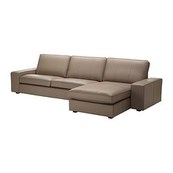 KIVIK three-seat sofa and chaise longue, Grann beige Width: 317 cm Depth: 163 cm Height: 83 cm