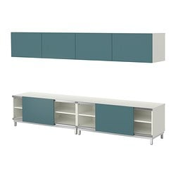 BESTÅ storage combination w sliding doors, grey-turquoise, white Width: 240 cm Depth: 40 cm Height: 48 cm