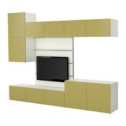 BESTÅ/FRAMSTÅ TV storage combination, light green, white Width: 300 cm Depth: 40 cm Height: 230 cm