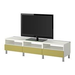 BESTÅ TV bench with drawers, light green, white Width: 180 cm Depth: 40 cm Height: 42 cm