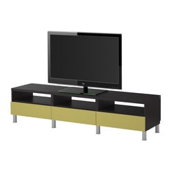 BESTÅ TV bench with drawers, light green, black-brown Width: 180 cm Depth: 40 cm Height: 42 cm