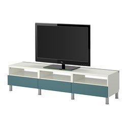 BESTÅ TV bench with drawers, grey-turquoise, white Width: 180 cm Depth: 40 cm Height: 42 cm