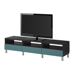 BESTÅ TV bench with drawers, grey-turquoise, black-brown Width: 180 cm Depth: 40 cm Height: 42 cm