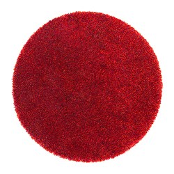 BÄLUM rug, high pile, red Diameter: 130 cm Surface density: 3250 g/m² Pile coverage: 2300 g/m²