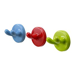 KROKIG wall hook, multicolour Package quantity: 3 pieces
