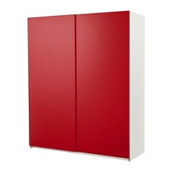 PAX wardrobe with sliding doors, Hasvik red, white Width: 200.0 cm Depth: 65.5 cm Height: 236.4 cm