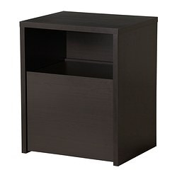 MICKE desk with printer storage, black-brown Width: 61 cm Depth: 50 cm Height: 75 cm