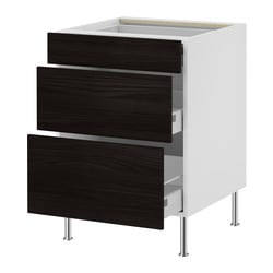 AKURUM base cabinet with 3 drawers, Gnosjö black, birch