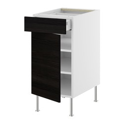 "AKURUM base cabinet w shelf/drawer/door, Gnosjö black, birch Width: 17 7/8 "" Depth: 24 3/4 "" Height: 30 3/8 "" Width: 45.5 cm Depth: 62.8 cm Height: 77 cm"