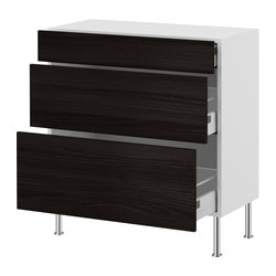 "AKURUM base cabinet with 3 drawers, Gnosjö black, birch Depth: 12 3/8 "" Depth: 31.5 cm"