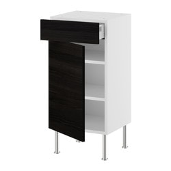 AKURUM base cabinet w shelf/drawer/door, Gnosjö black, birch