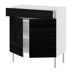 AKURUM base cabinet/shelves/drawer/2 doors, Gnosjö black, birch