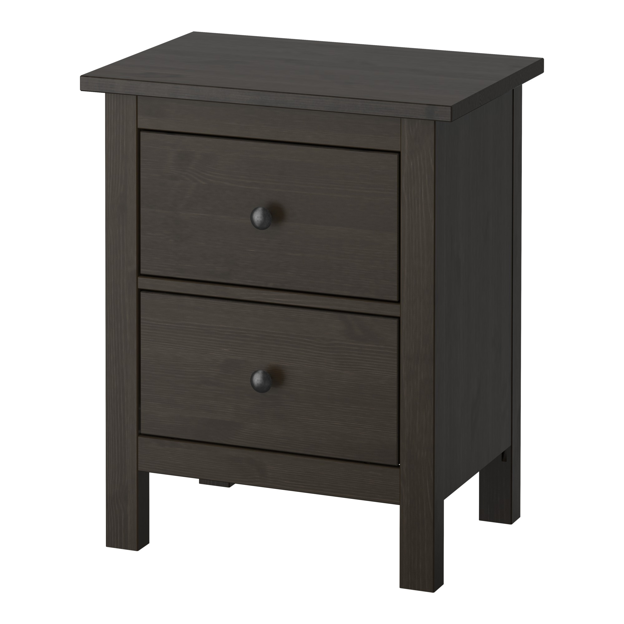 Low bedside table ideas - Hemnes 2 Drawer Chest Black Brown Width 21 1 4