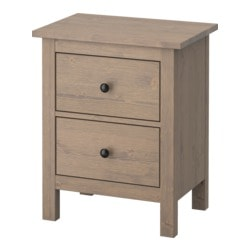 HEMNES chest of 2 drawers, grey-brown Width: 54 cm Depth: 38 cm Height: 66 cm