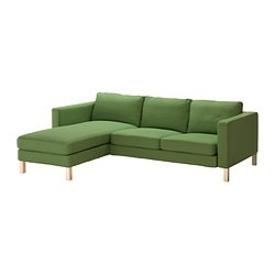 KARLSTAD two-seat sofa and chaise longue, Sivik green Width: 244 cm Min. depth: 93 cm Max. depth: 158 cm
