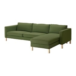 KARLSTAD three-seat sofa and chaise longue, Sivik green Width: 282 cm Min. depth: 93 cm Max. depth: 160 cm