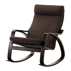 POÄNG rocking-chair, Korndal brown, black-brown Width: 68 cm Depth: 94 cm Height: 95 cm