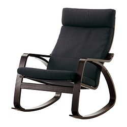 POÄNG rocking-chair, Korndal dark grey, black-brown Width: 68 cm Depth: 94 cm Height: 95 cm
