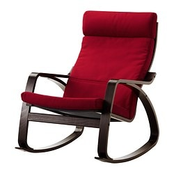 POÄNG rocking-chair, Dansbo medium red, black-brown Width: 68 cm Depth: 94 cm Height: 95 cm